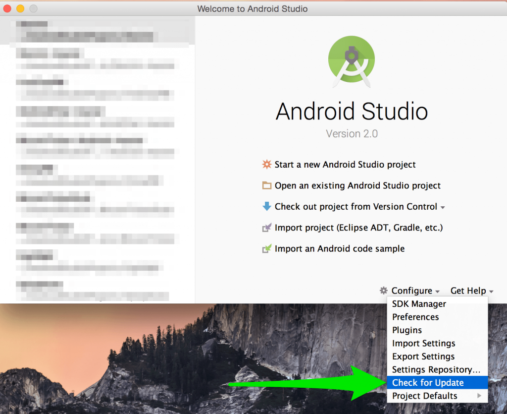 Android Studio Check for Update